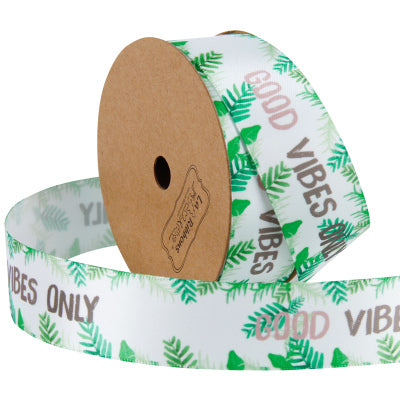 "LaRibbons 25mm ""Good Vibes Only"" Printed Satin Ribbon White/Multi"