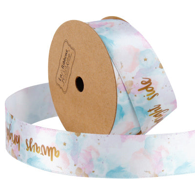 25 millimeter pastel pink watercolor style satin text printed ribbon