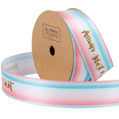 "25mm Blue/Pink Multi ""Always Seek The Light"" Printed Satin Ribbon"