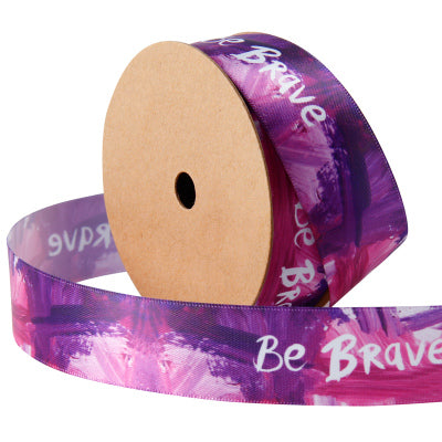"25mm ""Be Brave"" Printed Satin Ribbon Purple/Multi"