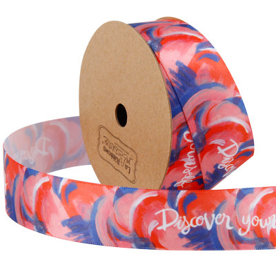 25 millimeter orange and blue watercolor style text printed satin ribbon