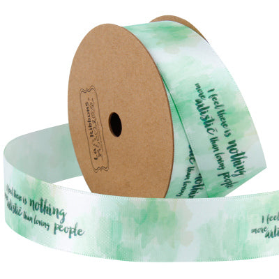 25 millimeter mint green text printed satin ribbon