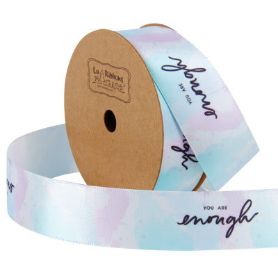"25mm Blue/Multi ""You Are Enough"" Printed Satin Ribbon"