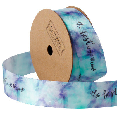 "25mm Blue/Multi ""The Best is Yet to Come"" Printed Satin Ribbon"