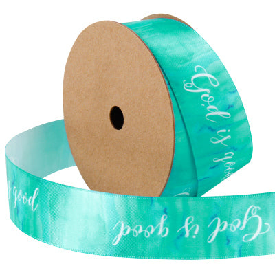 25 millimeter green watercolor style satin text printed ribbon