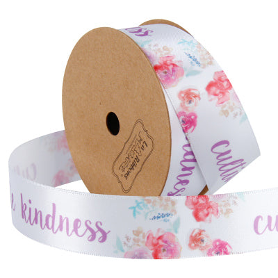"25mm ""Cultivate Kindness"" Printed Satin Ribbon White/Multi"