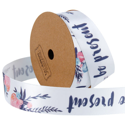 "25mm ""Be Present"" Printed Satin Ribbon White/Navy"