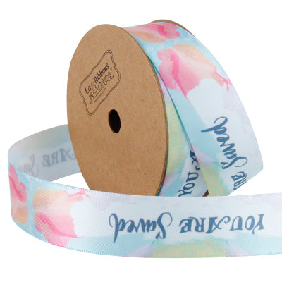25 millimeter pastel blue and pink watercolor style ribbon