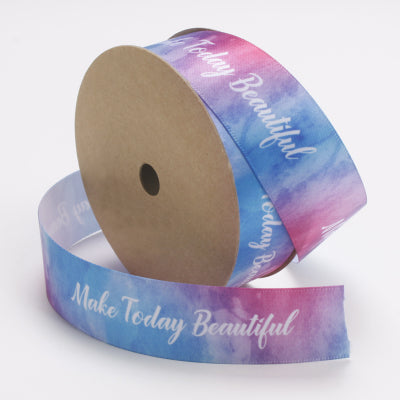 "25mm Blue/Pink Multi ""Make Today Beautiful"" Printed Satin Ribbon"