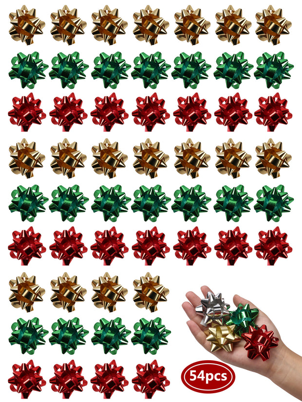 Green, red and gold 54 pcs 2 inch gift bow bundle