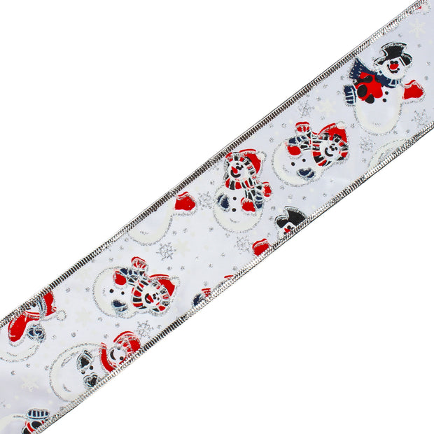 Sheer Wire Ribbon Xmas Snowman Silver Multi Ribbon 2.5 Inch. Wide x 25 Yards