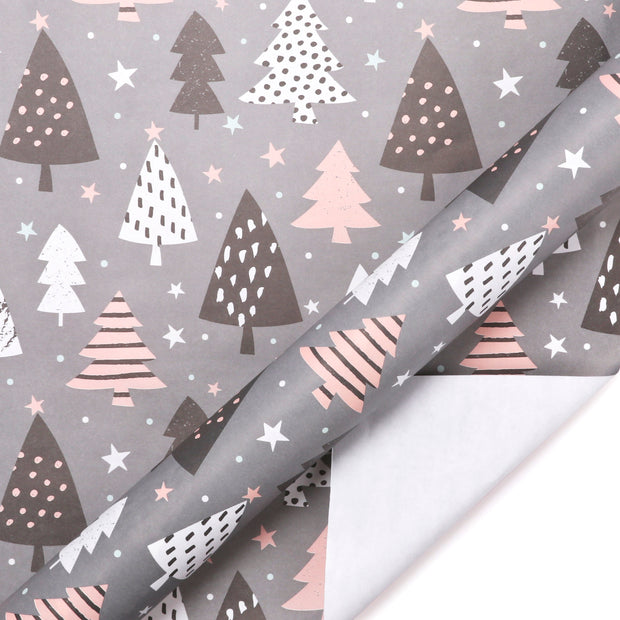 Grey and pink christmas tree theme wrapping paper roll