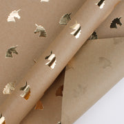 Brown kraft gold foil unicorn printed wrapping paper roll