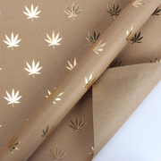 Brown and gold foil cannabis printed kraft wrapping paper roll