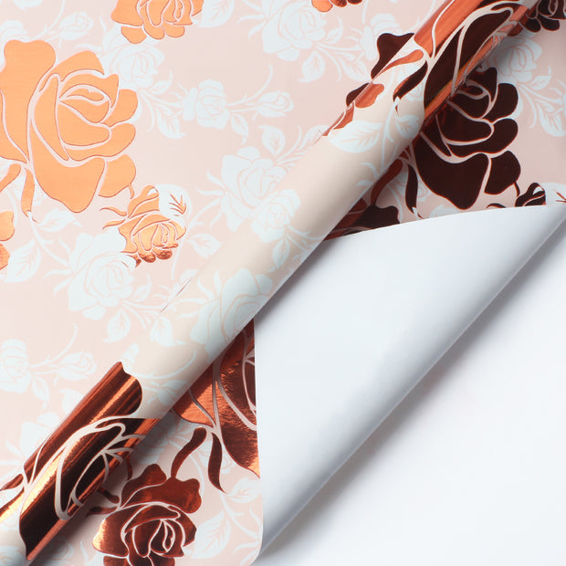 Pink and Rose gold floral wrapping paper roll