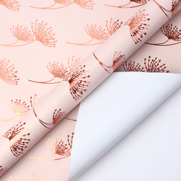 Pink and rose gold metallic floral wrapping paper roll