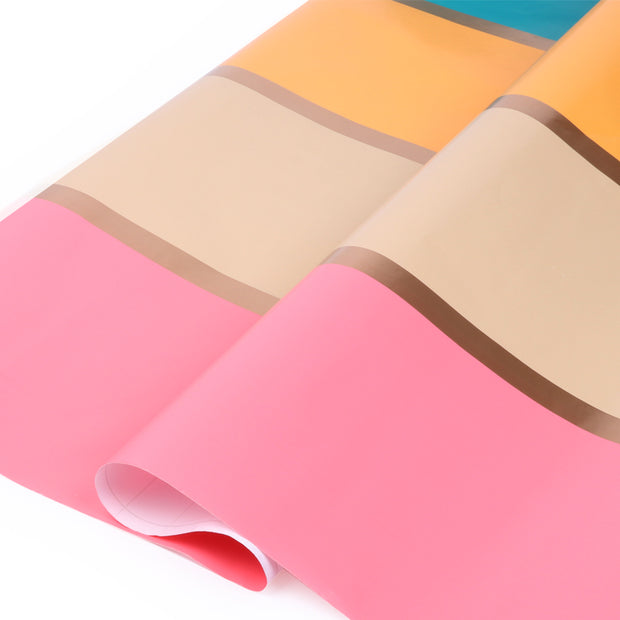 "Pink/Melon/Maize/Gold ""Modern Stripe"" Wrapping Paper Roll"