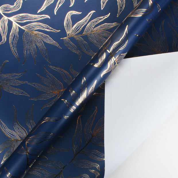 Navy blue and gold foil floral wrapping paper roll