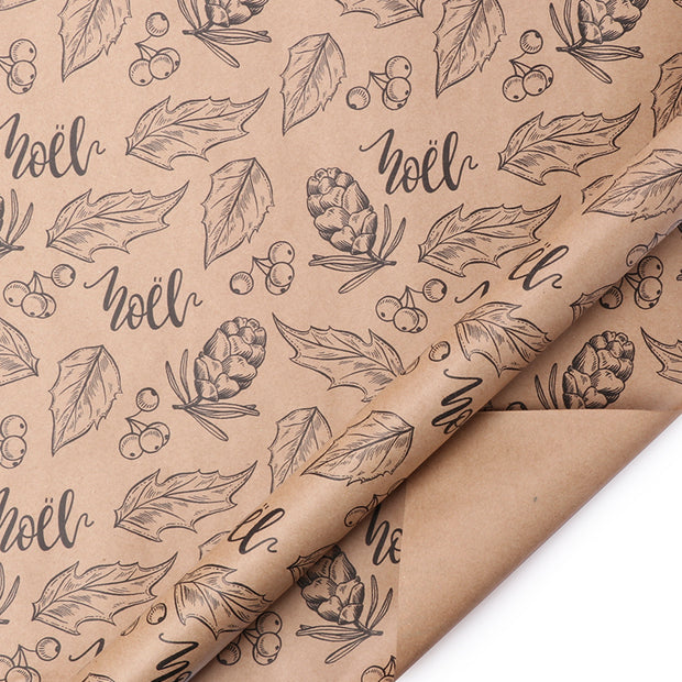 Brown kraft noel text printed wrapping paper roll