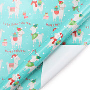 Teal llama printed wrapping paper roll