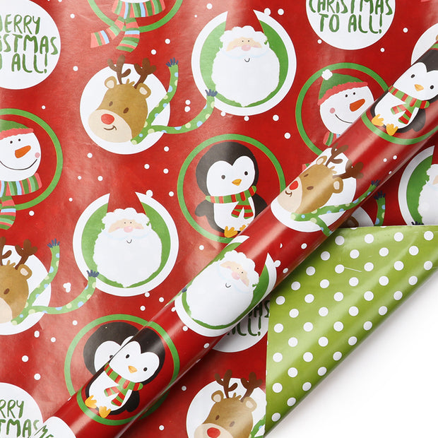 Red and green kids Christmas theme reversible wrapping paper roll
