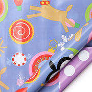 Blue and purple reversible kids Christmas theme wrapping paper roll