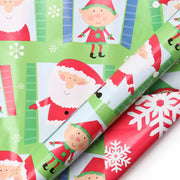 Red and green Christmas kids theme reversible wrapping paper roll