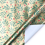 Gold mistletoe print wrapping paper roll