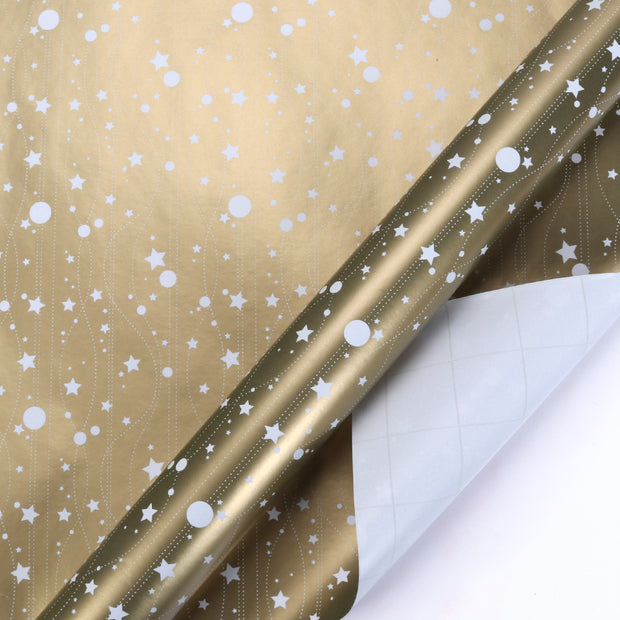 White and gold metallic space theme wrapping paper roll