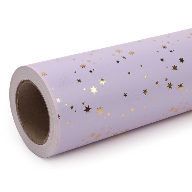 Lavender and silver metallic foil mini star wrapping paper roll