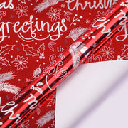 "Christmas Greetings Metallic Foil Red Wrapping Paper - 30"" x 120"""