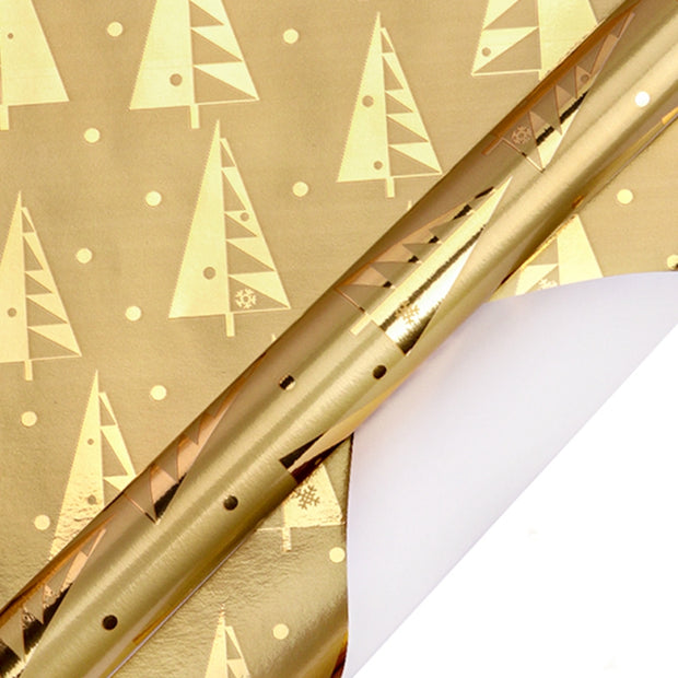 "Metallic Foil Pine Forest Kraft Wrapping Paper Natural/Gold - 30"" x 120"""