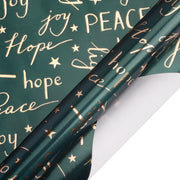 "Holiday Metallic Green ""Hope/Light/Peace/Joy "" Gold Foil Print Wrapping Paper - 30"" x 120"""