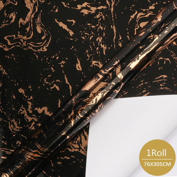 "Metallic Foil Marble Wrapping Paper Black/Copper - 30"" x 120"""