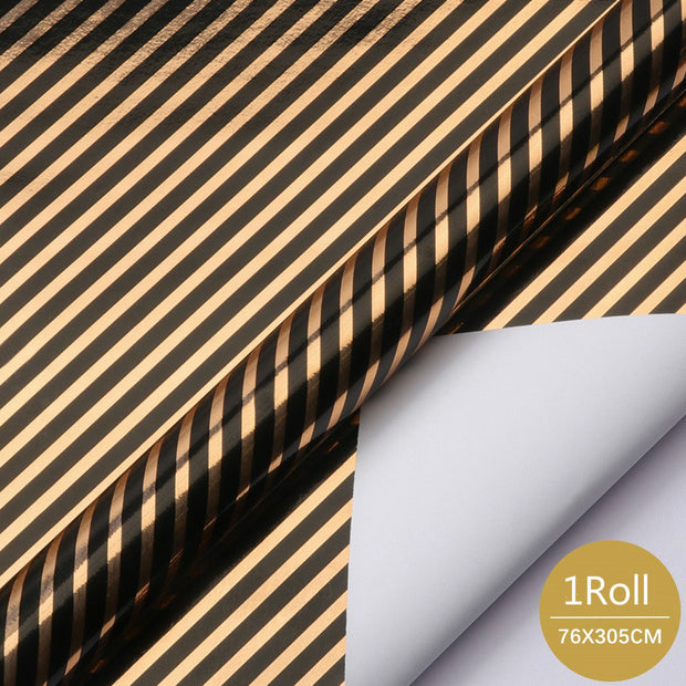 "Black & Copper Diagonal Stripes Metallic Foil Print Wrapping Paper - 30"" x 120"""