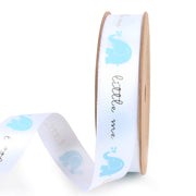 15 millimeter white satin ribbon printed with mini blue elephants