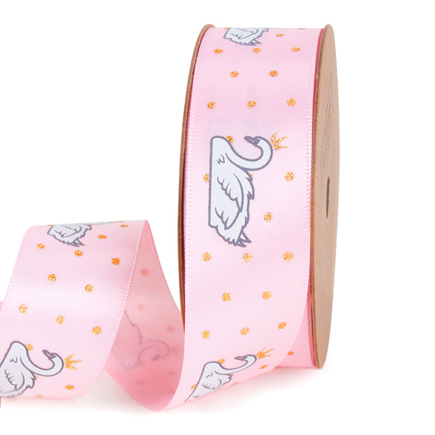 25 millimeter pink satin ribbon printed with swans and stars