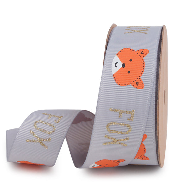 25 millimeter grey grosgrain ribbon printed with an orange fox
