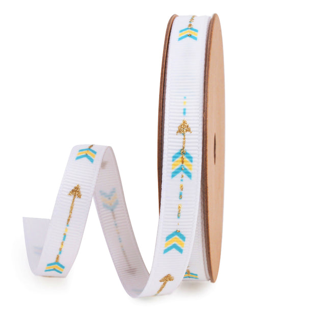 Metallic Gold Arrow White Grosgrain Ribbon with Blue and Yellow accents