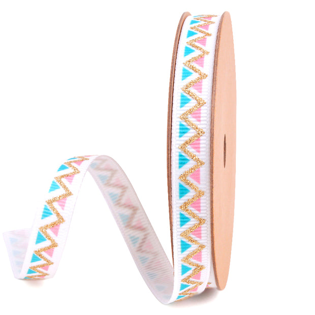 9 millimeter pastel and white geometric ribbon