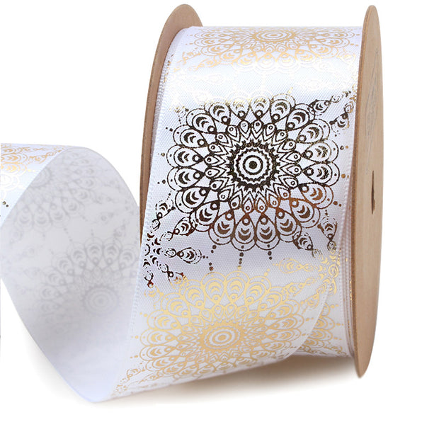 38mm White/Gold Foil Mehndi Style Satin Ribbon