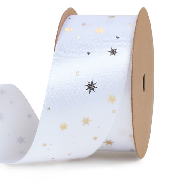 38mm White/Gold Foil Mini Stars Satin Ribbon