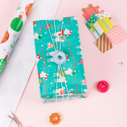 Teal llama theme printed wrapped gift