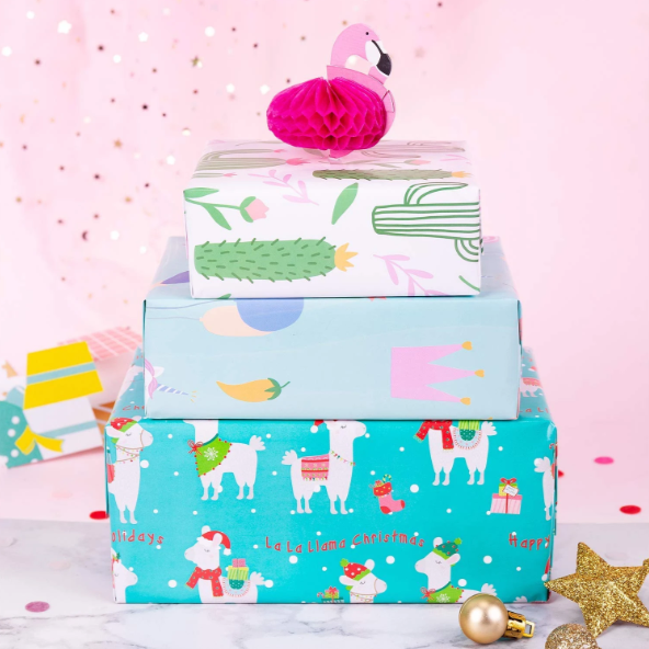 Teal llama printed wrapped gift