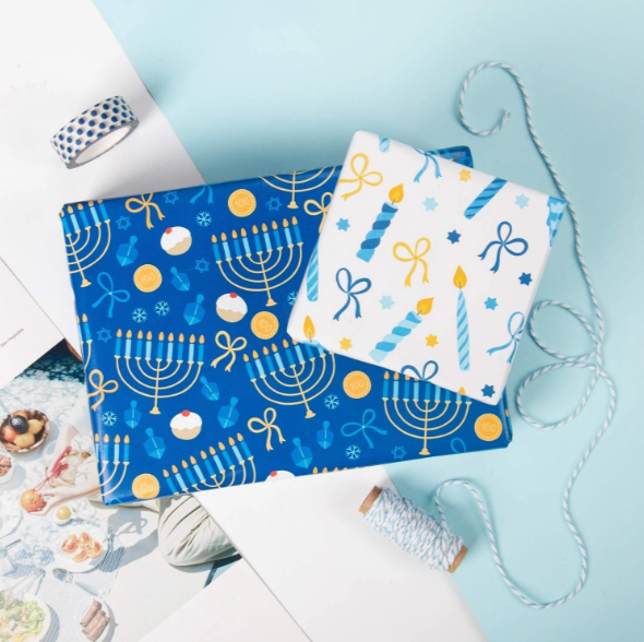 White and blue Hanukkah printed wrapped gifts