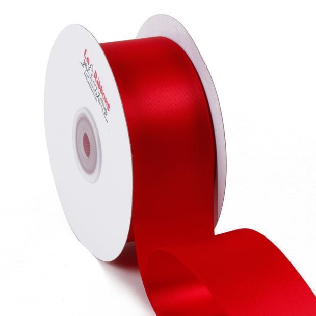 1 1/2 inch red double face satin ribbon