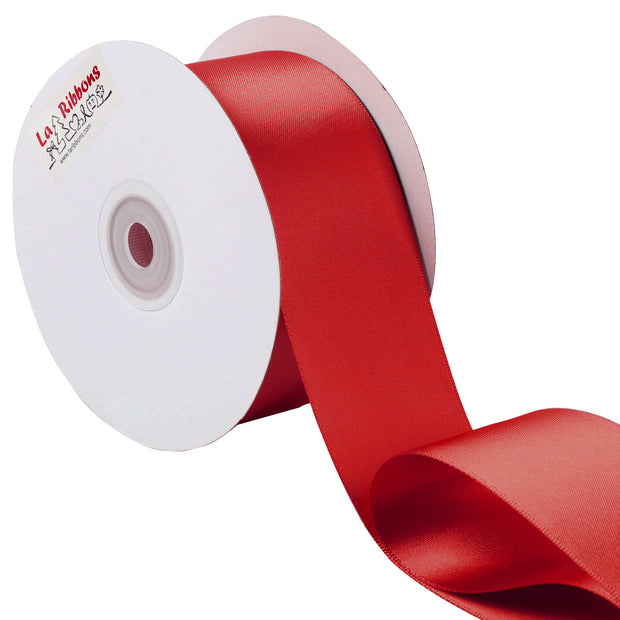 2 inch red double face satin ribbon