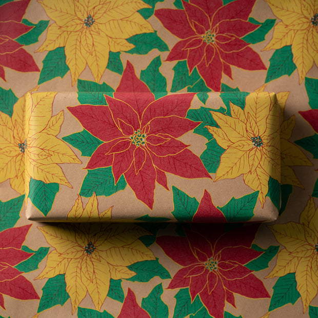 Christmas Kraft Wrapping Paper - Flowers, Mistletoe, Birds, and Pinecone - Natural/Multi - 4 Rolls - 30 inches x 10 feet per Roll