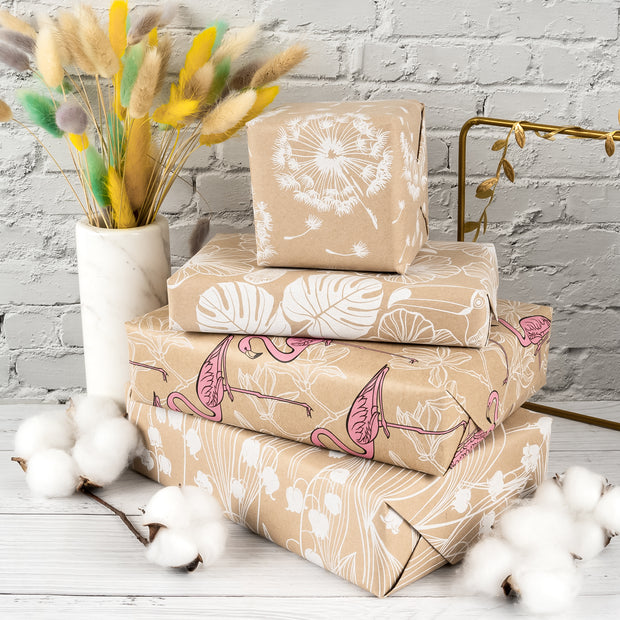 RUSPEPA Floral Wrapping Paper Kraft Paper - White Flower Wrap Design - 4 Rolls - 30 inches x 10 feet per Roll