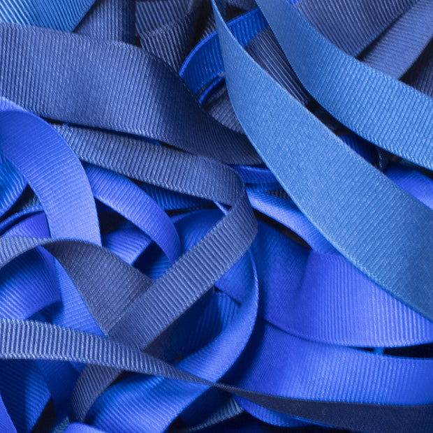 "3/8"" - 7/8"" Wholesale Premium Textured Grosgrain Ribbon - Dark Blue Collection"